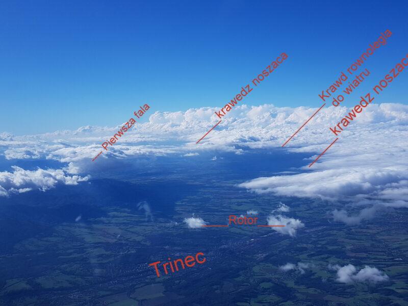 Zdjęcie na równiny z zachmurzeniem altocumulusa i luką fenową. Rejon Ostrawy.