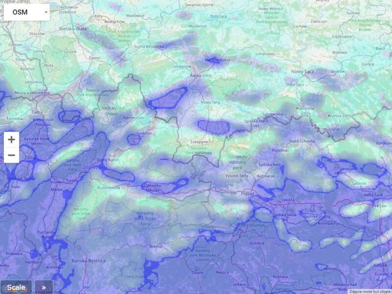 Mapa wilgoci na 3000m na Podhalu podczas halnego.