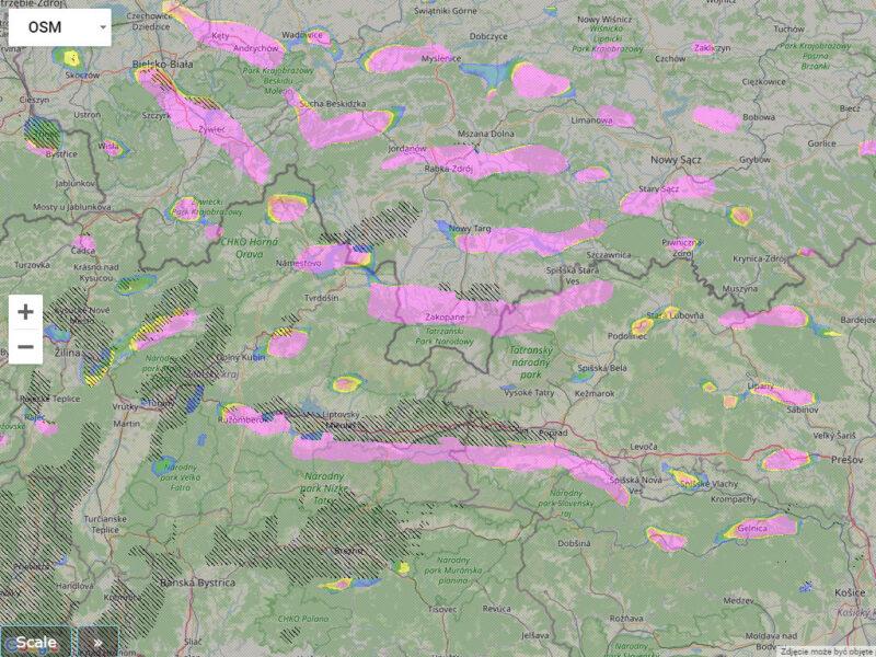 Mapa pól falowych w Tatrach przy południowym wietrze.