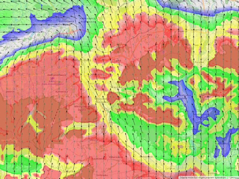 Wiatr na 0m nad ziemią - Beskidy i okolice Bielska. Czerwony - 12m/s