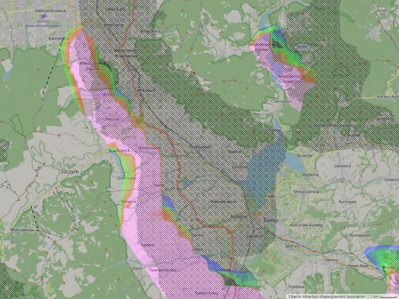 Mapa pól falowych nad Beskidami przy wietrze południowo - zachodnim.